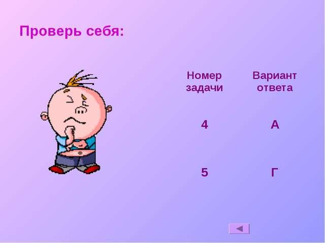 Проверь себя: Номер задачиВариант ответа 4А 5Г