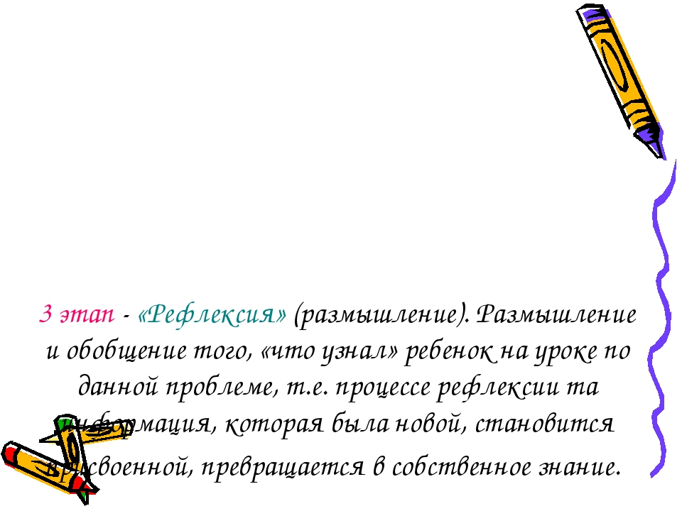 3этап - «Рефлексия» (размышление). Размышление и обобщение того, «что узнал»...