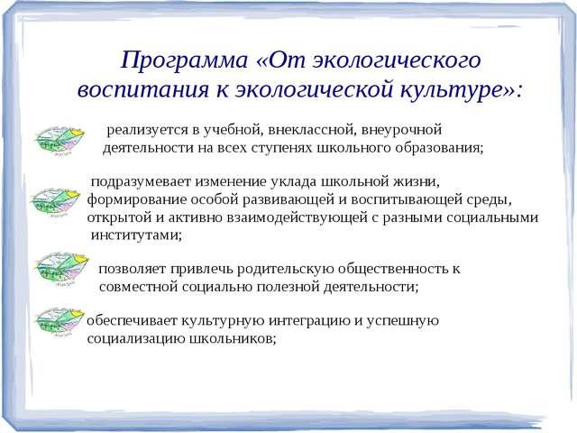 Программа «От экологического воспитания к экологической культуре»: реализуетс...