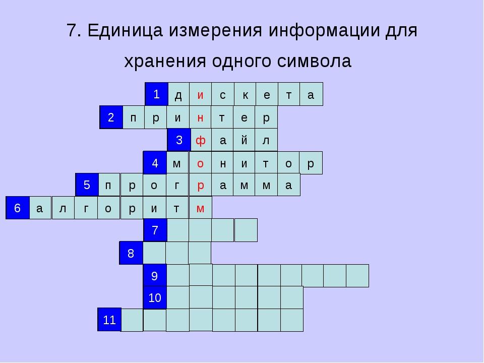 7. Единица измерения информации для хранения одного символа д и с к е т а п р...