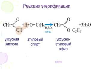 Реакция этерификации Синтез