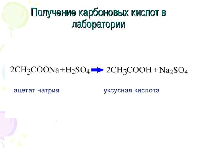 Получение карбоновых кислот в лаборатории