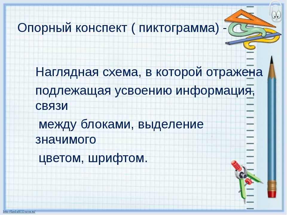 Опорный конспект ( пиктограмма) - Наглядная схема, в которой отражена подле...