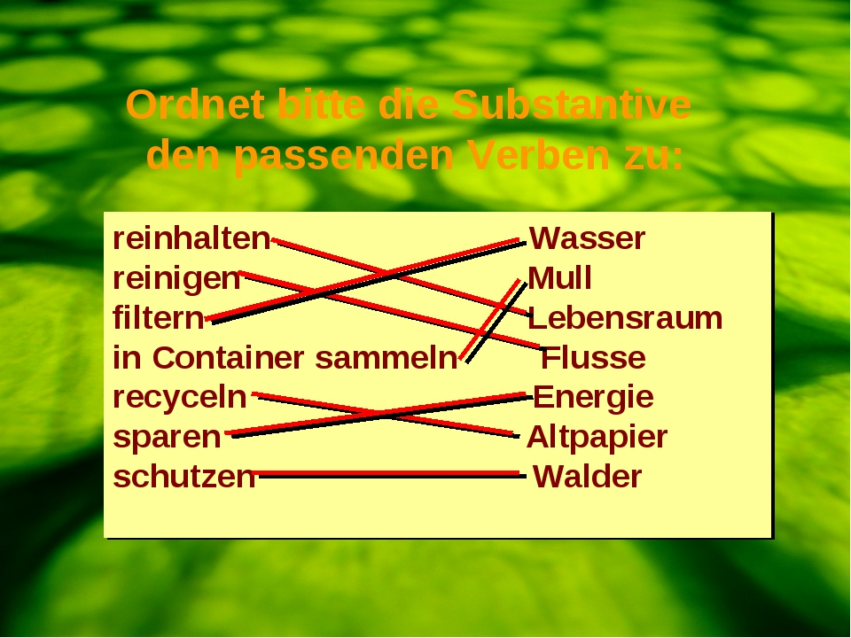 2. Ordnen Sie die Substantive den passenden Verben zu. reinhalten Wasser rein...