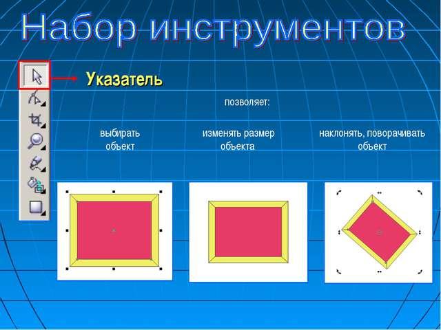 Указатель изменять размер объекта наклонять, поворачивать объект выбирать объ...