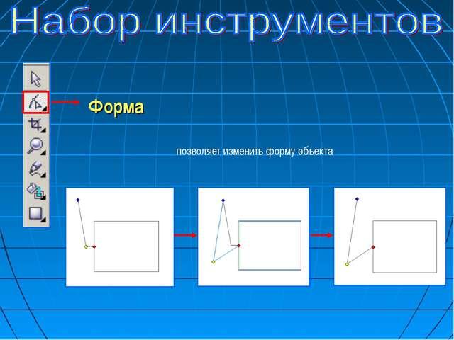 Форма позволяет изменить форму объекта