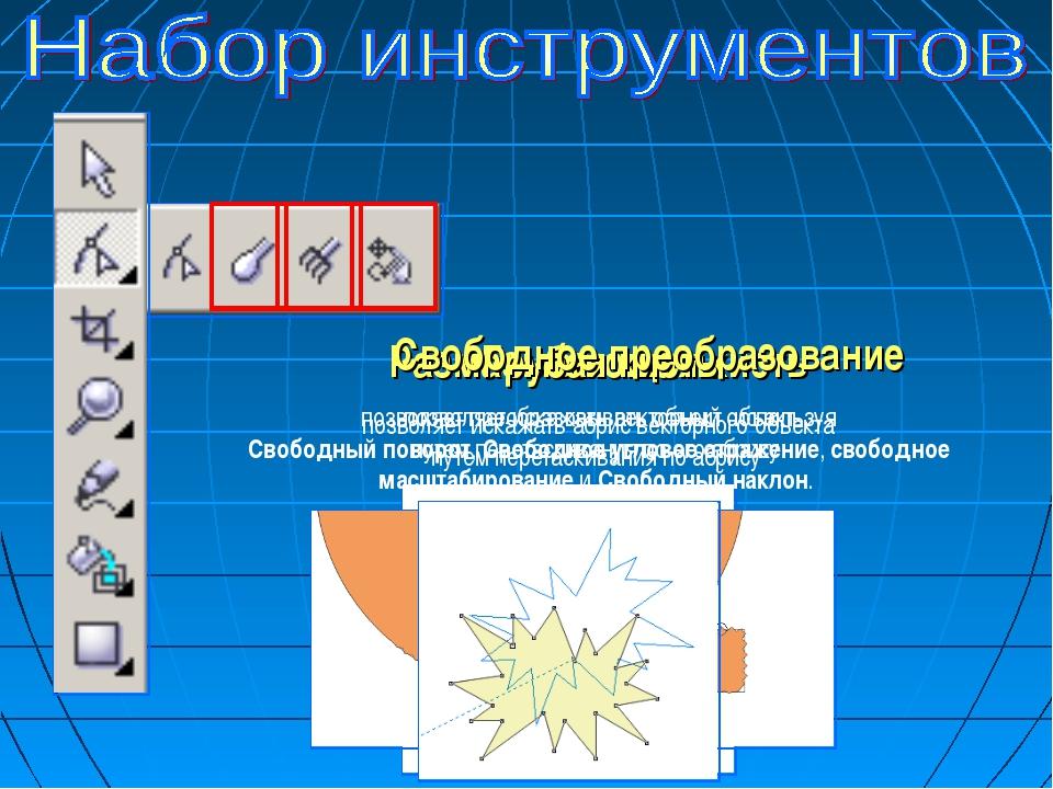 Размазывающая кисть позволяет искажать векторный объект путем перетаскивания...