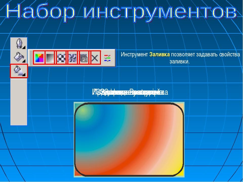 Инструмент Заливка позволяет задавать свойства заливки. Однородная заливка Гр...
