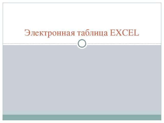 Электронная таблица EXCEL