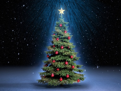 Обои Праздники Новый год ( Рождество ) Елка Шарики Лучи света Фото 329397