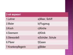2-ой вариант 1.Lehrer a)Meer, Schiff 2.Maler b)Flugzeug 3.Koch c)Kirche 4