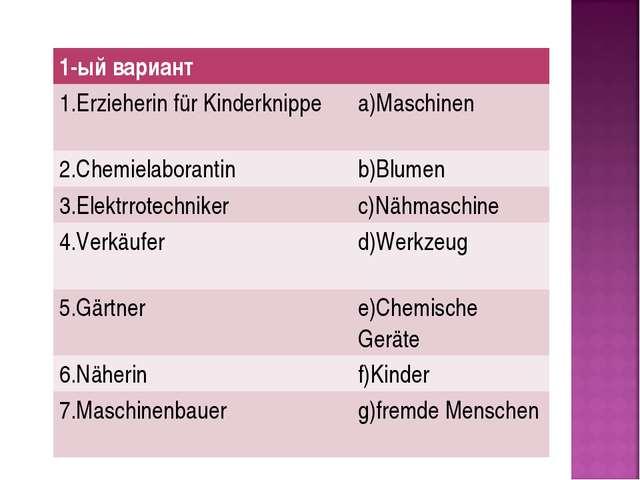 1-ый вариант 1.Erzieherin für Kinderknippe a)Maschinen 2.Chemielaborantin...
