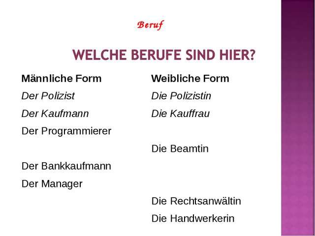 Beruf Männliche FormWeibliche Form Der Polizist Die Polizistin Der Kaufmann...