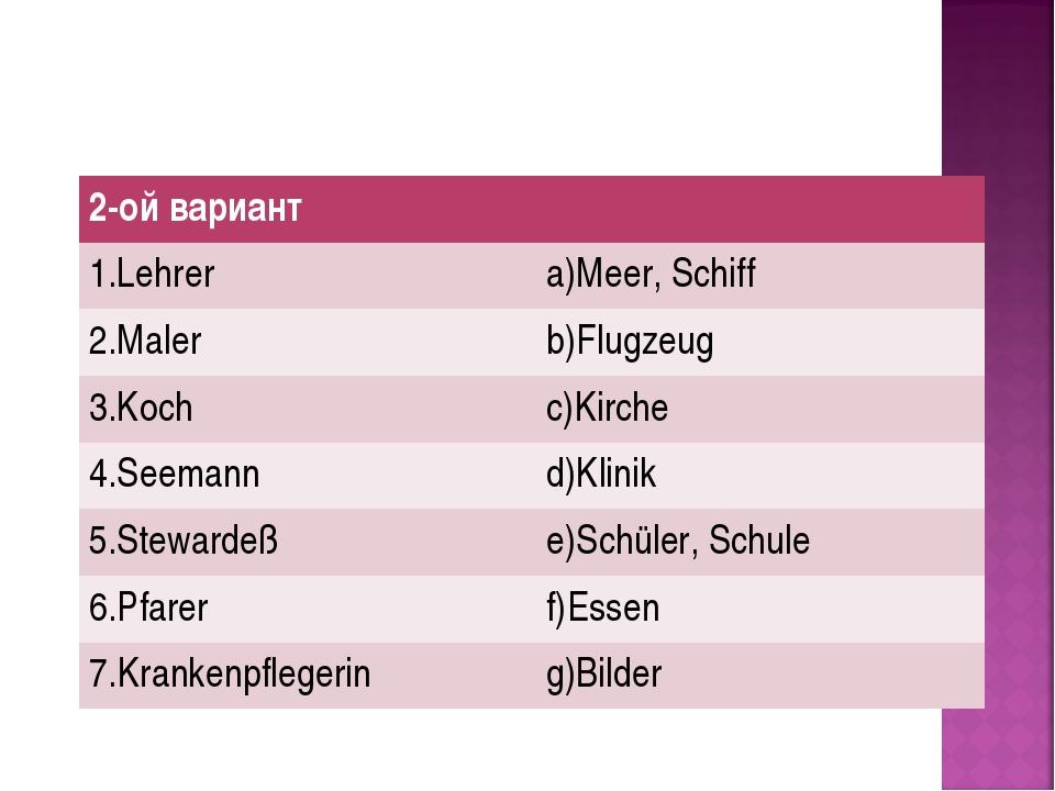2-ой вариант 1.Lehrer a)Meer, Schiff 2.Maler b)Flugzeug 3.Koch c)Kirche 4...
