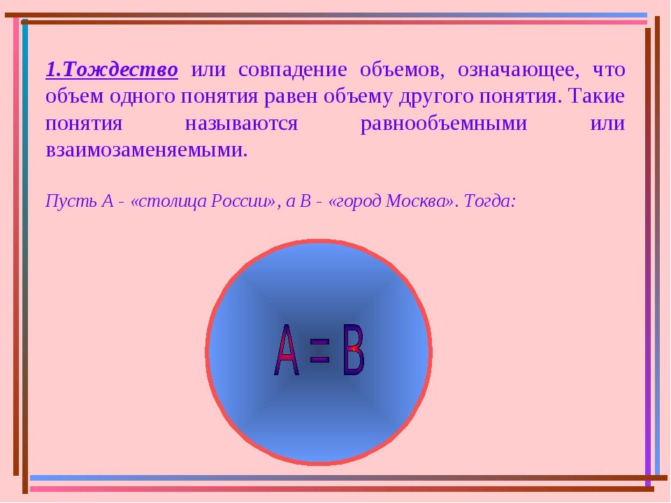 1.Тождество или совпадение объемов, означающее, что объем одного понятия раве...