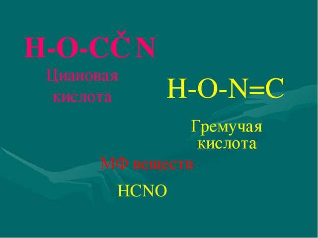 Н-О-С≡N Н-О-N=C Циановая кислота Гремучая кислота МФ веществ НCNО