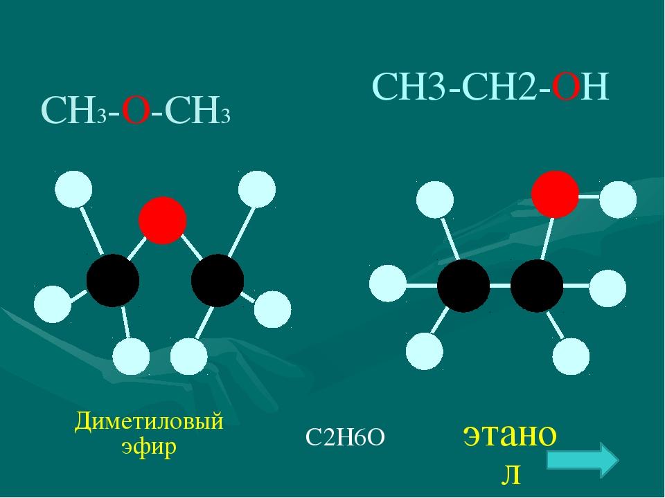 СН3-О-СН3 С2Н6О СН3-СН2-ОН этанол Диметиловый эфир