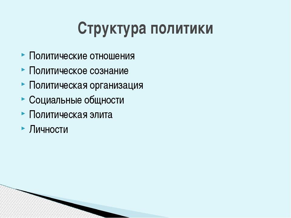 Политические отношения Политическое сознание Политическая организация Социаль...