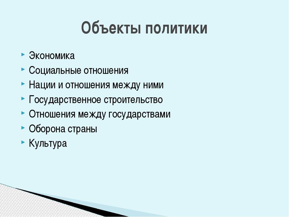 Экономика Социальные отношения Нации и отношения между ними Государственное с...