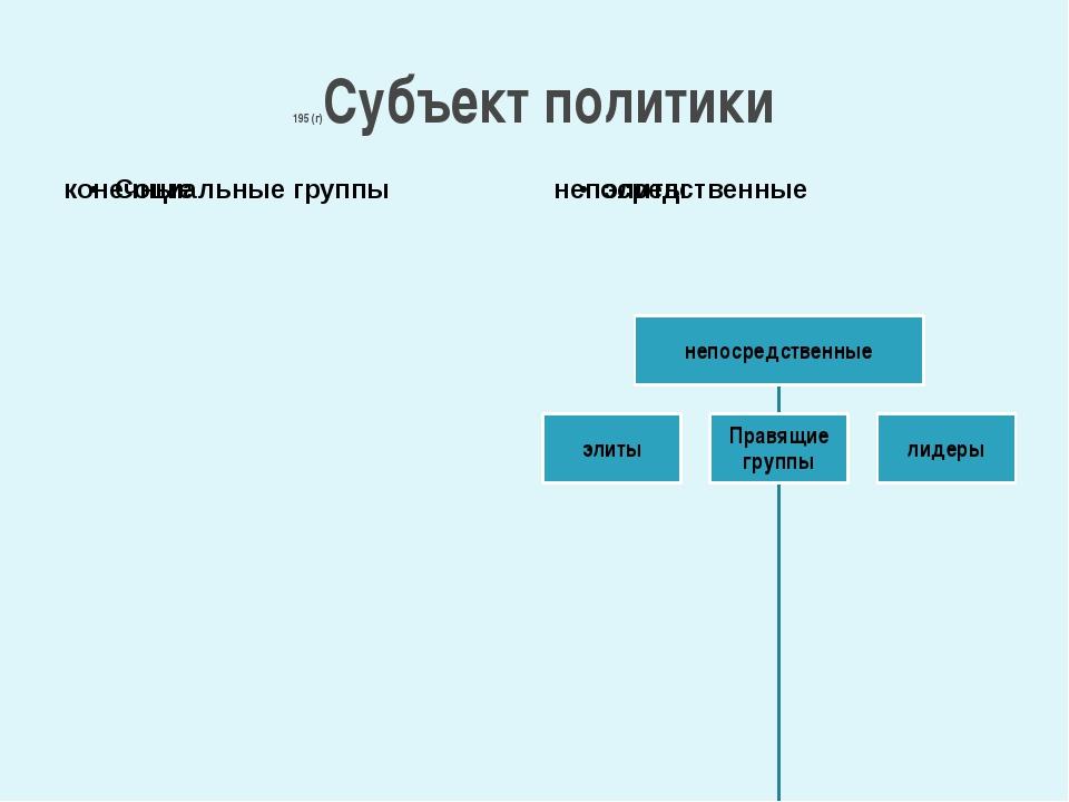 195 (г)Субъект политики