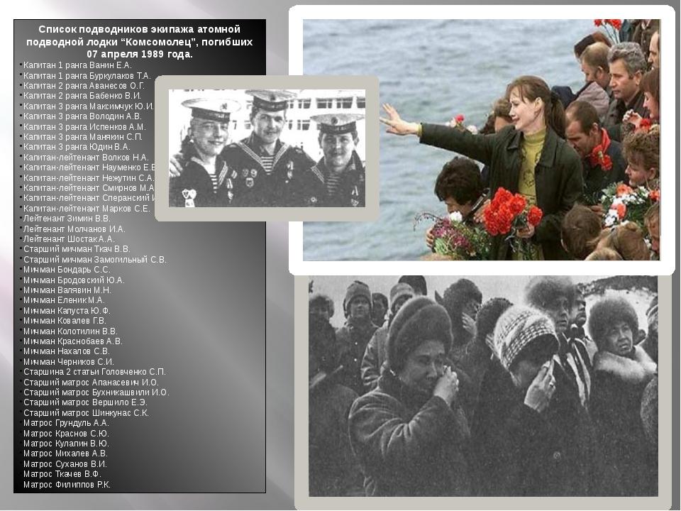 """Список подводников экипажа атомной подводной лодки """"Комсомолец"""", погибших 07..."""