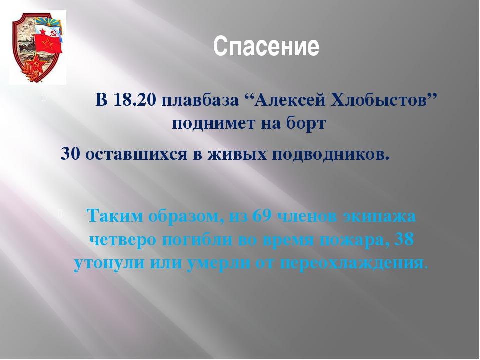 """Спасение В 18.20 плавбаза """"Алексей Хлобыстов"""" поднимет на борт 30 оставшихся..."""