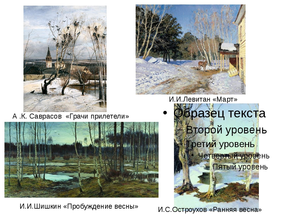 А .К. Саврасов «Грачи прилетели» И.И.Левитан «Март» И.С.Остроухов «Ранняя ве...