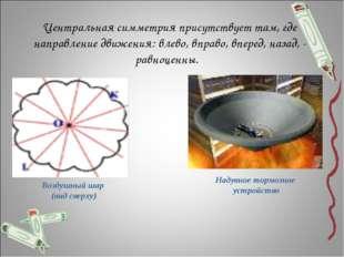 Центральная симметрия присутствует там, где направление движения: влево, впр