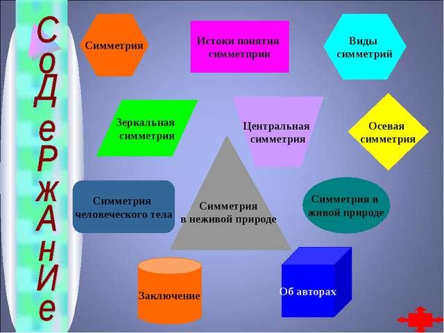 Истоки понятия симметприи Зеркальная симметрия Центральная симметрия Осевая с...