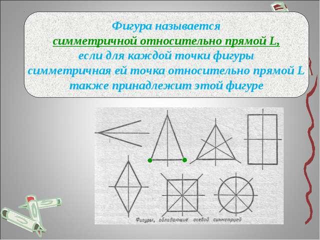 Фигура называется симметричной относительно прямой L, если для каждой точки ф...