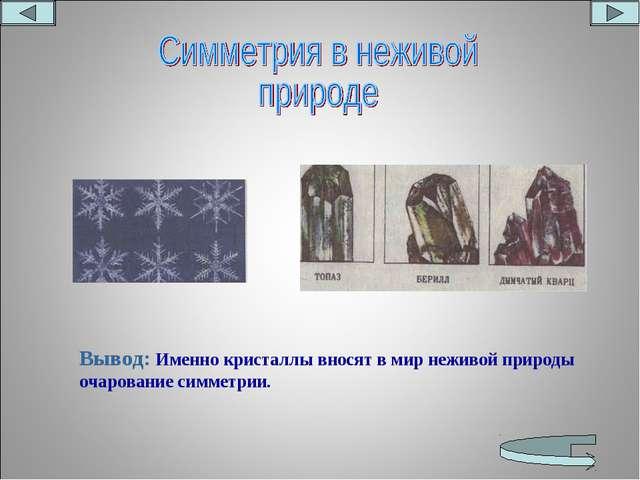 Вывод: Именно кристаллы вносят в мир неживой природы очарование симметрии.