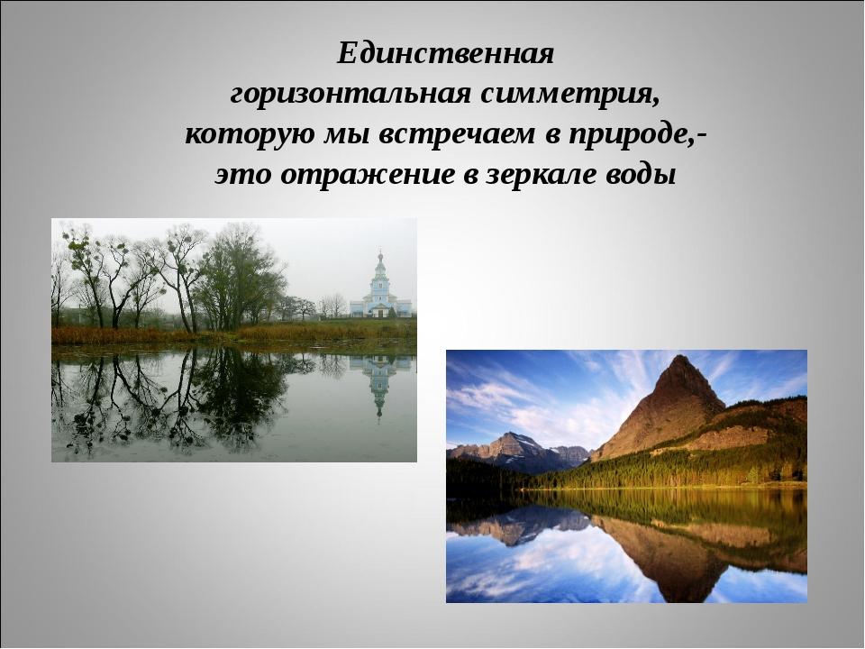 Единственная горизонтальная симметрия, которую мы встречаем в природе,- это о...