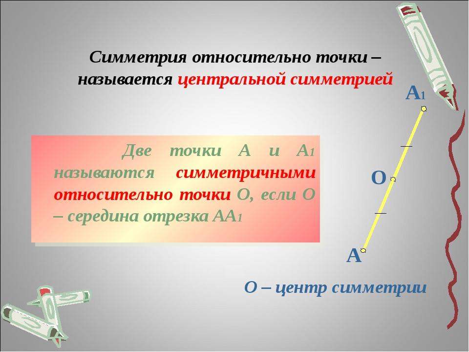 Симметрия относительно точки – называется центральной симметрией Две точки...