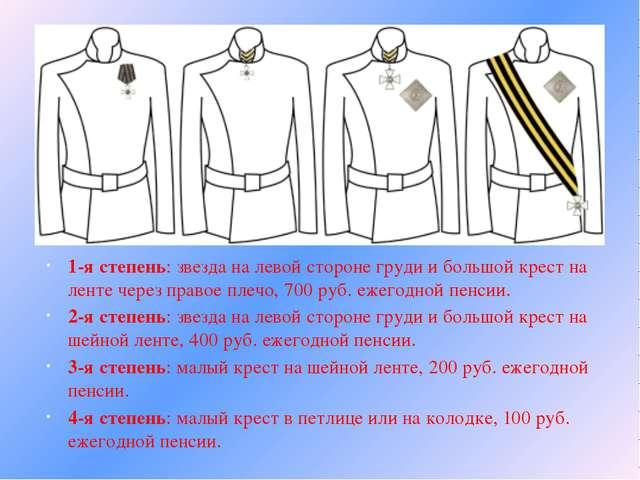 1-я степень: звезда на левой стороне груди и большой крест на ленте через пр...