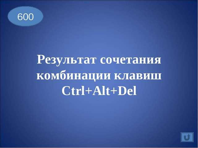 Результат сочетания комбинации клавиш Ctrl+Alt+Del 600