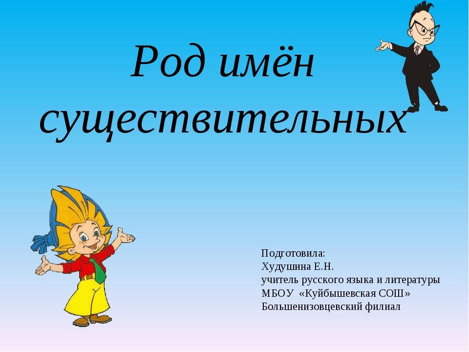 Род имён существительных Подготовила: Худушина Е.Н. учитель русского языка и...
