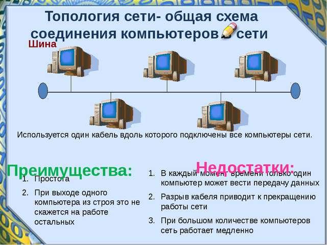 Шина Используется один кабель вдоль которого подключены все компьютеры сети....