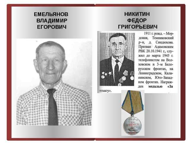 ЕМЕЛЬЯНОВ ВЛАДИМИР ЕГОРОВИЧ НИКИТИН ФЕДОР ГРИГОРЬЕВИЧ