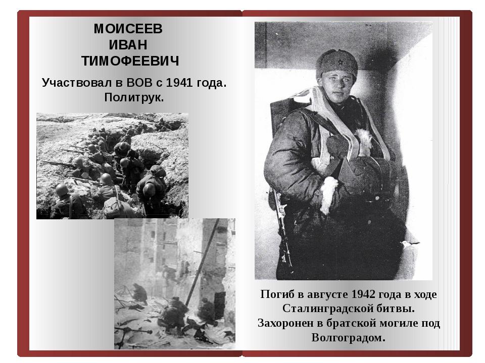 Погиб в августе 1942 года в ходе Сталинградской битвы. Захоронен в братской...