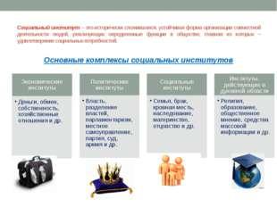 Социальный институт – это исторически сложившаяся, устойчивая форма организац