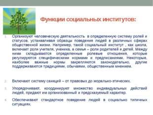 Функции социальных институтов: Организуют человеческую деятельность в определ