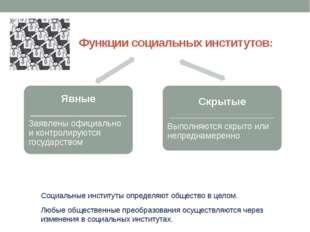 Функции социальных институтов: Социальные институты определяют общество в це