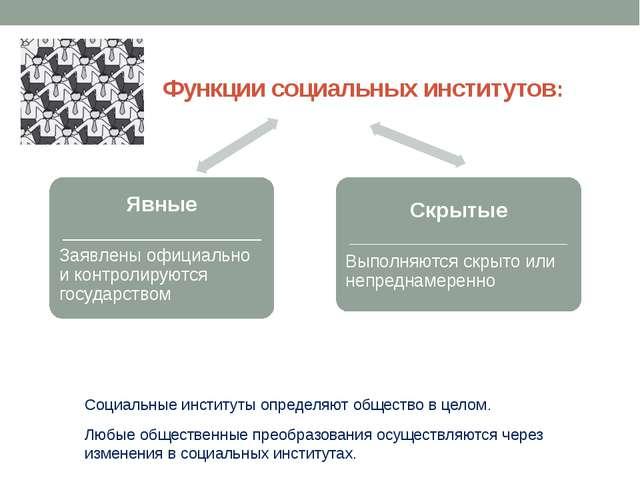 Функции социальных институтов: Социальные институты определяют общество в це...