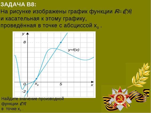 ЗАДАЧА В8: На рисунке изображены график функцииy=f(x) и касательная к этому...