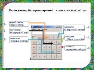 Калькулятор батырмаларының атын атап шығыңыз. 1- 2- 3- -6 -5 -4 жарықтанған с