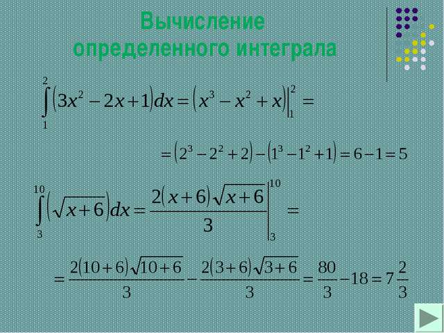 Вычисление определенного интеграла