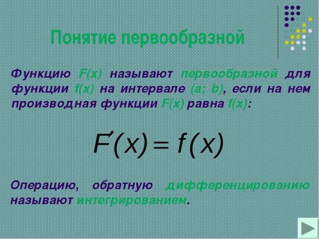 Понятие первообразной Функцию F(x) называют первообразной для функции f(x) на...