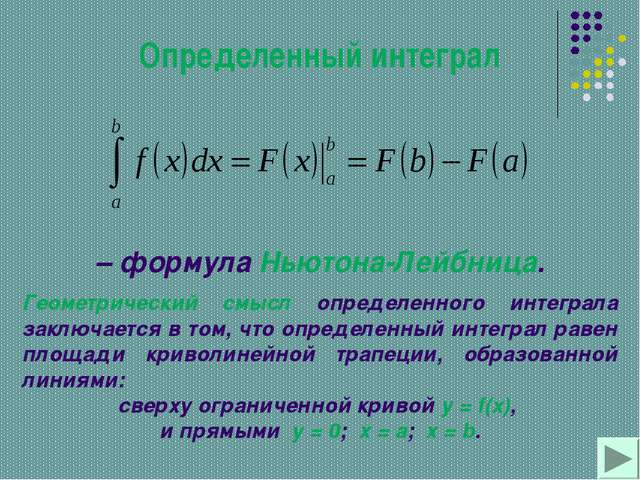 Определенный интеграл – формула Ньютона-Лейбница. Геометрический смысл опреде...