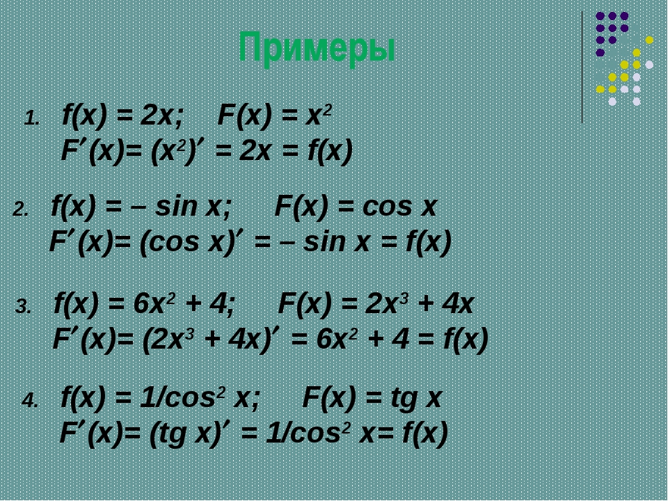 Примеры f(x) = 2x; F(x) = x2 F(x)= (x2) = 2x = f(x) f(x) = – sin x; F(x) =...
