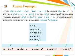 Схема Горнера Пусть р(x) = bx4 + cx3 + dx2 + ex + f. Разделим р(х) на x − а п